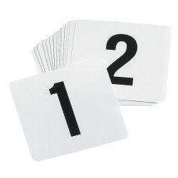 TableCraft - TN100 - Number Card Set, 1-100, Tent, White Plastic, 100 PK