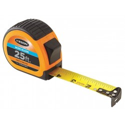 Keson - PG1825WIDEV - 25 ft. Steel SAE Tape Measure, Black/Chrome/Orange