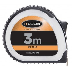 Keson - PG3M - 3m Steel Metric Tape Measure, Black/Chrome