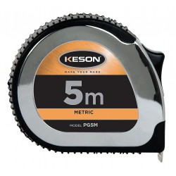 Keson - PG5M - 5m Steel Metric Tape Measure, Black/Chrome