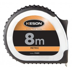 Keson - PG8M - 8m Steel Metric Long Tape Measure, Black/Chrome