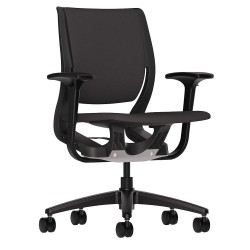 HON - HR1W.ABLK.H.ON.CU10.T - Black Fabric Desk Chair 19 Back Height, Arm Style: Adjustable