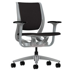 HON - HR1W.APLT.H.PT.CU10.PLAT - Black Fabric Desk Chair 19 Back Height, Arm Style: Adjustable