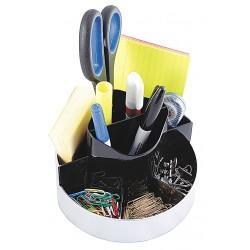 Kantek - KTKORG620 - Desktop Organizer, Black/Silver, Plastic