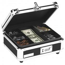 Vaultz - IDEVZ01002 - Cash Box, Black/Chrome, Plastic/Steel