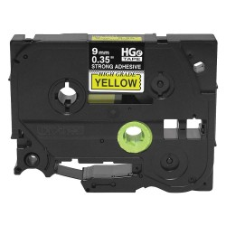 Brother International - HGES6215PK - Brother HGES6215PK Black on Yellow Extra-Strength Adhesive Label Tape - 11/32 Width x 26 1/4 ft Length - Thermal Transfer - Yellow - 5 / Pack