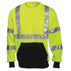 Tingley Rubber - S78022 - Hi-Vis Crew Sweatshirt, Cl. 3, Lime, 2XL