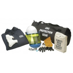 Chicago Protective Apparel - AG-12-CV-L - 12.0 cal./cm2 Arc Flash Protection Clothing Kit, 2-HRC, Navy, L