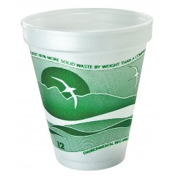 Dart Container - 12J16H - 12 oz. Disposable Hot Cup, Foam, Green/White, PK 1000