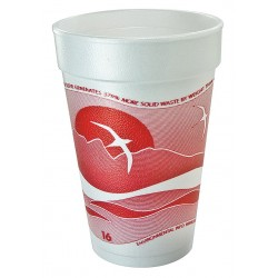 Dart Container - 16J16H - 16 oz. Disposable Hot Cup, Foam, Red/White, PK 1000