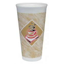 Dart Container - 20X16G - 20 oz. Disposable Hot Cup, Foam, Brown/White, PK 500