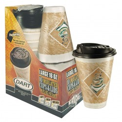 Dart Container - 16XGRCLBWT - 16 oz. Disposable Hot Cup, Foam, Brown/White, PK 120