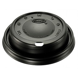 Dart Container - 8ELBLK - 8 oz. Foam Sip Thru Hot Cup Lid, Black; PK1000