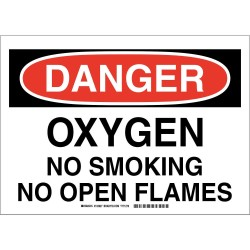 Brady - 103927 - No Smoking, Danger, Plastic, 14 x 10, With Mounting Holes, Not Retroreflective