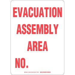 Brady - 103593 - Evacuation, Assembly or Shelter, No Header, Plastic, 14 x 10, With Mounting Holes