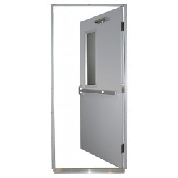 Securall Cabinets - HDQM18-36X80-1.5-RRH - Steel Door, Push Bar, LHR, 36 x 80 In.