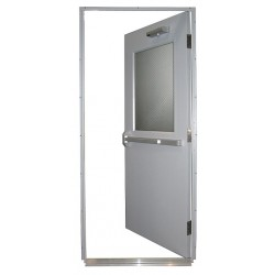 Securall Cabinets - HDQM18-36X84-45-HLH - Steel Door, Push Bar, RHR, 36 x 84 In.