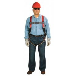 MSA - 10041595 - MSA Standard TechnaCurv Full Body/Vest Style Red Harness With Qwik-Fit Chest Strap Buckle, Tongue Leg Strap Buckle, 1 Back And 2 Hip D-Ring