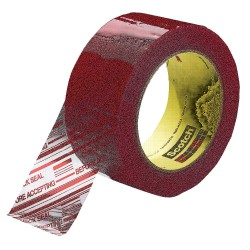3M - 3779 - 100m x 72mm Polypropylene Packaging Tape w/ Text, Red on Clear