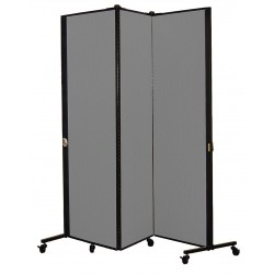 Screenflex - HKDL603-DG - 5 ft. 9 in. x 5 ft. 9 in., 3-Panel Portable Room Divider, Stone