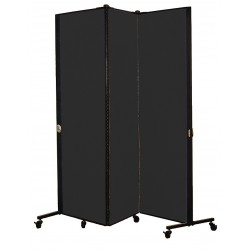 Screenflex - HKDL603-DX - 5 ft. 9 in. x 5 ft. 9 in., 3-Panel Portable Room Divider, Charcoal Black
