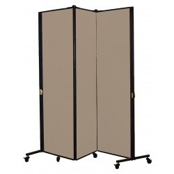 Screenflex - HKDL603-VO - 5 ft. 9 in. x 5 ft. 9 in., 3-Panel Portable Room Divider, Sandalwood