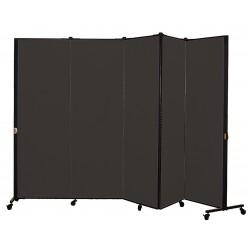 Screenflex - HKDL605-DX - 9 ft. 5 in. x 5 ft. 9 in., 5-Panel Portable Room Divider, Charcoal Black