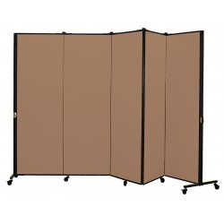 Screenflex - HKDL605-DO - 9 ft. 5 in. x 5 ft. 9 in., 5-Panel Portable Room Divider, Walnut