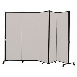 Screenflex - HKDL605-VG - 9 ft. 5 in. x 5 ft. 9 in., 5-Panel Portable Room Divider, Granite