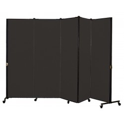 Screenflex - HKDL605-VX - 9 ft. 5 in. x 5 ft. 9 in., 5-Panel Portable Room Divider, Coal