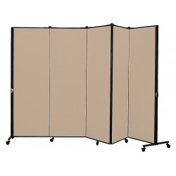 Screenflex - HKDL605-VO - 9 ft. 5 in. x 5 ft. 9 in., 5-Panel Portable Room Divider, Sandalwood
