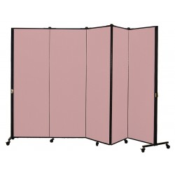 Screenflex - HKDL605-VM - 9 ft. 5 in. x 5 ft. 9 in., 5-Panel Portable Room Divider, Raspberry Mist