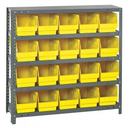 Quantum Storage Systems - 1239-202YL - 36 x 12 x 39 Bin Shelving with 2000 lb. Load Capacity, Gray Shelving Unit, Yellow Bins