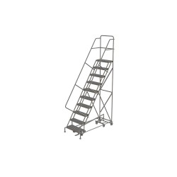 Tri Arc - KDAD110242 - 10-Step Rolling Ladder, Serrated Step Tread, 136 Overall Height, 450 lb. Load Capacity