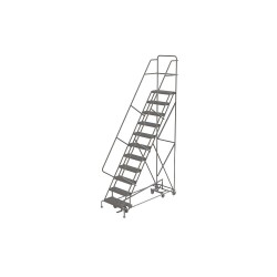 Tri Arc - KDAD111246 - 11-Step Rolling Ladder, Perforated Step Tread, 146 Overall Height, 450 lb. Load Capacity
