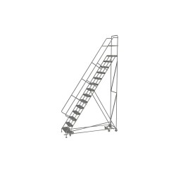 Tri Arc - KDAD114242 - 14-Step Rolling Ladder, Serrated Step Tread, 176 Overall Height, 450 lb. Load Capacity
