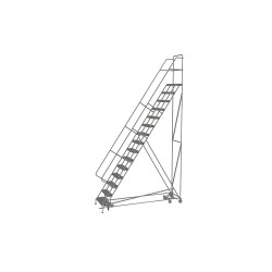 Tri Arc - KDAD115246 - 15-Step Rolling Ladder, Perforated Step Tread, 186 Overall Height, 450 lb. Load Capacity