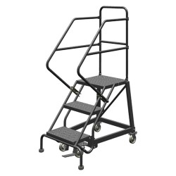 Tri Arc - KDEC103166 - 3-Step Rolling Ladder, Perforated Step Tread, 66 Overall Height, 450 lb. Load Capacity
