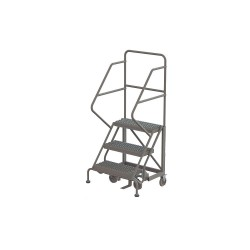 Tri Arc - KDEC103242 - 3-Step Rolling Ladder, Serrated Step Tread, 66 Overall Height, 450 lb. Load Capacity