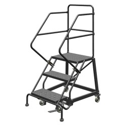 Tri Arc - KDEC103246 - 3-Step Rolling Ladder, Perforated Step Tread, 66 Overall Height, 450 lb. Load Capacity