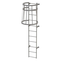 Tri Arc - WLFC1111 - 10 ft. Overall Height Steel Fixed Ladder with Safety Cage, 36 Overall Width, 500 lb. Load Capacity