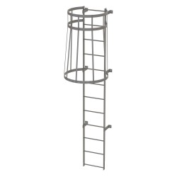 Tri Arc - WLFC1112 - 11 ft. Overall Height Steel Fixed Ladder with Safety Cage, 36 Overall Width, 500 lb. Load Capacity