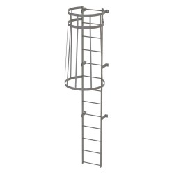 Tri Arc - WLFC1113 - 12 ft. Overall Height Steel Fixed Ladder with Safety Cage, 36 Overall Width, 500 lb. Load Capacity