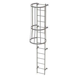 Tri Arc - WLFC1114 - 13 ft. Overall Height Steel Fixed Ladder with Safety Cage, 36 Overall Width, 500 lb. Load Capacity