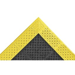 "Notrax - 520S3096BY - Drainage Mat, Black with Yellow Border, 8 ft. x 2 ft. 6"", PVC, 1 EA"