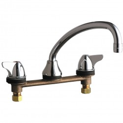 Chicago Faucet - 1888-ABCP - Cast Brass Kitchen Faucet, Manual Faucet Operation, Number of Handles: 2