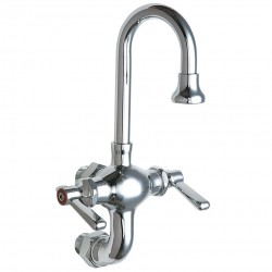 Chicago Faucet - 225-ABCP - Brass Gooseneck Kitchen Faucet, Manual Faucet Operation, Number of Handles: 2