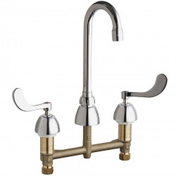 Chicago Faucet - 786-GN1AE3XKAB - Brass Gooseneck Kitchen Faucet, Manual Faucet Operation, Number of Handles: 2