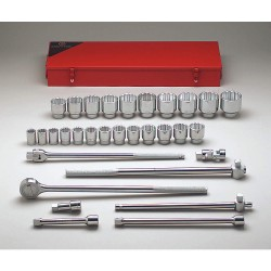 Wright Tool - 623 - Wright Tool 3/4' X 7/8' - 2' 22 Piece 12 Point Standard Socket Set (Includes 1/2' Ratchet And 5' Flared Extension), ( Each )