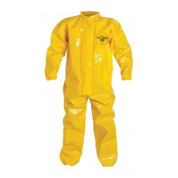 DuPont - BR125TYLSM000200 - Collared Chemical Resistant Coveralls with Elastic Cuff, Yellow, S, Tychem 9000